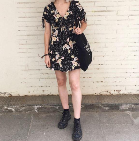 girl vintage floral dress bag